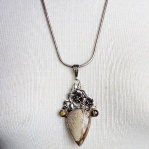 Jewelry - VNTG Sterling Tigers Eye & Jasper Pndant Necklace